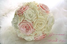 VIntage Handmade Bridal Fabric Bouquet - Ivory and Pale Pink  Handmade bouquet - bridal bouquet by Gemmaroses