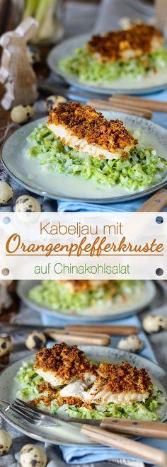 Kabeljau mit Orangenpfefferkruste auf Chinakohlsalat