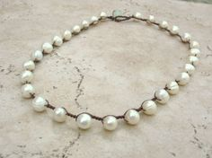 """pearls for everything!  Pearl crochet necklace, Bohemian jewelry """"Fresh Cotton"""", white pearls, shabby shic, boho, delicate. $33.00, via Etsy."""