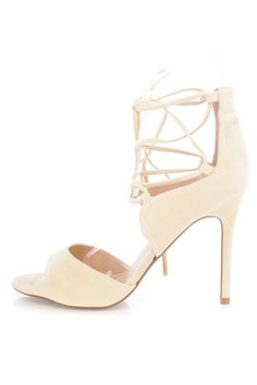 f735f8dac78 Nude Lace Up Open Toe Single Sole High Heels Faux Suede ✅ Earn major  fashion points