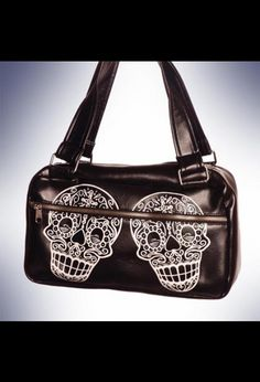 Day of the Dead Sugar Skulls Day Bag Purse by Lux De Ville