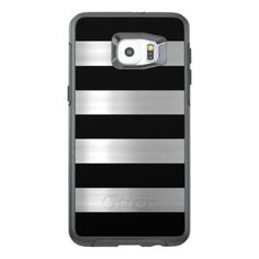 #stylish - #Black & Silver Metallic Stripes OtterBox Samsung Galaxy S6 Edge Plus Case