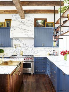 """Go Inside Brooklyn Decker's Comfortable Austin Home (She Designed it Herself!)   COOKIES AND CREAM    Decker had one vision in mind for her kitchen counters – think Oreos – and was dogged about making it happen. """"I was looking for Arabiscato [marble],"""" she said. """"I wanted it to look like cookies 'n' cream. You can't find it anywhere. We looked in England and all around the States, mostly online because I was doing it myself."""" But her worldwide search came up empty, until she got a tip about…"""
