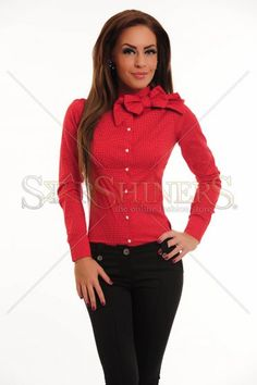 Camasa Fofy Delicate Reveal Red Delicate, Casual, Red, Sweaters, Clothes, Beautiful, Fashion, Women, Outfits