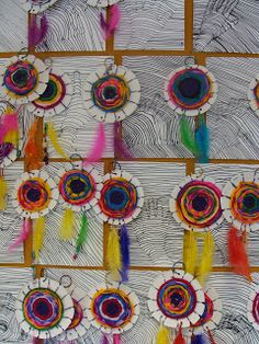 Once upon an Art Room: Native American Indian Dream catchers - like the tie-in to the hand project behind, catching the dream.