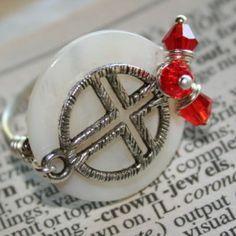 » Sideway Cross Ring w Genuine Mother Of Pearl w Birthstone Crystal Silver