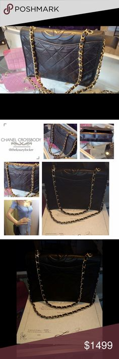 100% authentic quilted Chanel cross body black GHW Good vintage condition. Minor signs of wear. Authentication is included. Very clean, in and out. Can be worn as a Crossbody, on the shoulder, or with a strap doubled up as a shoulder bag (as pictured). Hardware is very shiny and new. Bag looks the same from front and back, flap opens from front. Video is available on my Instagram @theluxurylocker. Medium size CHANEL Bags Crossbody Bags
