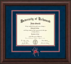 University of Richmond Diploma Frame-Mahogany Bead-3D Cut-Out-Navy/Red – Professional Framing Company