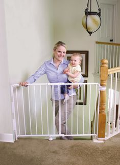 baby gates for stairs | ... of all stairway openings with its universal top of stairs design