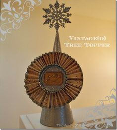 DIY Vintage(d) Tree Topper: Scrapbook Paper, Glitter, and Paint