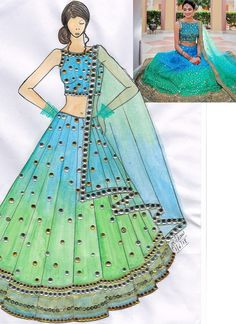 Shop silk shaded green lehenga choli with sanctified lace & resham work.It has matching shaded green lehenga in silk with beautiful embroidery all over Dress Design Drawing, Dress Design Sketches, Fashion Design Sketchbook, Dress Drawing, Fashion Design Drawings, Fashion Sketches, Fashion Drawing Tutorial, Fashion Figure Drawing, Fashion Drawing Dresses