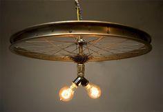 Bicycle-Wheel-Light Upcycle, LIGHTING, BEAUTIFUL, DIY, CRAFTS