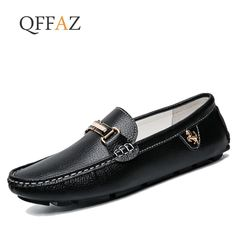 838ccaa4829 Qffaz Brand Fashion Spring Style Soft Moccasins Men Loafers High Quality  Genuine Leather Shoes Men Flats Gommino Driving Shoes