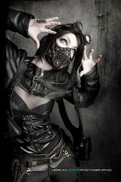 #Cybergoth girl with gas mask