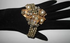 Vintage Stunning Early Miriam Haskell Four Strand Glass Baroque Pearl Bracelet | eBay