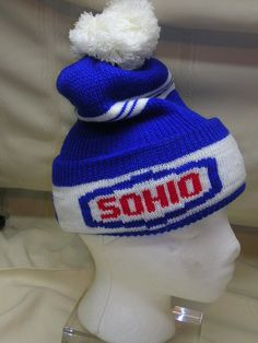 Vintage 1960-70's SOHIO Stocking Cap NOS Gas Oil Hat Red White Blue Hat  #SOHIO