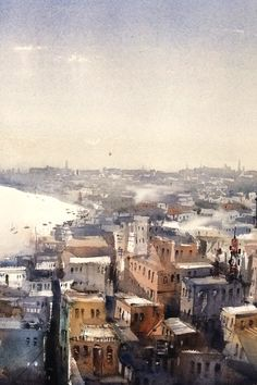 Watercolor art aerial view of varanasi, i have been fascinated to experience this spiritual town. My water paint art mostly discovering various mood and values of this magnificent oldest town in the earth. Watercolor Artwork, Watercolour, Water Paint Art, Original Art For Sale, Varanasi, Cityscapes, Medium Art, Aerial View, Online Art Gallery