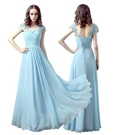 Moden Design Chiffon Capsleeve Sweeteart Evening Formal Prom Bridesmaid Dress (size 8, Light Blue)