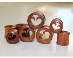 Organic natural sono wood with hand made gauge earrings,this style have very fine carved and very light enjoy it Mahalo from hawaii size 12mm hight