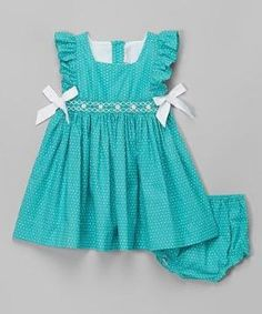 Look at this Fantaisie Kids Aqua Polka Dot Dress - Infant & Toddler on today! Kids Frocks, Frocks For Girls, Little Dresses, Little Girl Dresses, Cute Dresses, Girls Dresses, Toddler Dress, Toddler Outfits, Kids Outfits