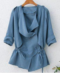 $8.65 Abrigo de Moda de Poliéster de Cintura ancha de Mangas Tres Cuartos y Turn-down cuello de Color Sólido de Moda para las mujeres