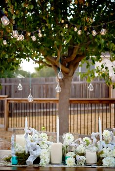 Liv by Design | Good Life Furniture Collection | Farm Table Rental | Hanging Teardrop Candleholder | Engagement Party | White Driftwood Centerpiece