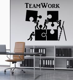 Melissalove Vinyl Wall Decal Teamwork Motivation Decor for Office Worker Puzzle Wall Stickers Modern Interior Art Wall Decoration Hot (Black) Office Wall Design, Office Wall Decals, Wall Stickers Murals, Office Walls, Office Interior Design, Office Interiors, Vinyl Wall Decals, Office Decor, Interior Decorating