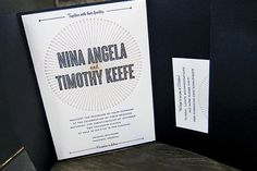 striking black and gold letterpress wedding invitation by Bella Figura in a pocketfold