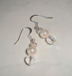 Crystal and  Glass Pearl Bead Earrings by CoastalCreationz on Etsy