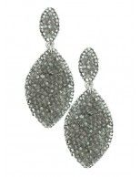White Gold Plated Swarovski Crystal Marquis Clip Earrings