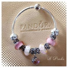 Tendance Bracelets  PANDORA Bangle with Lovely Floral Charms and Murano.