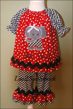 Girls Custom Boutique Peasant Dress Top and Ruffle Pants Outfit Alabama Roll Tide Size 6mos-8yrs. $40.00, via Etsy.