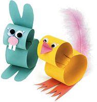 #Basteln zu Ostern mit Kindern: Küken und Osterhase aus je 2  Papierrollen