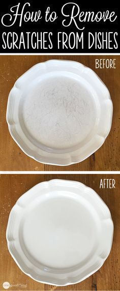 "How to Remove Scratches from Dishes--""Barkeepers Friend""---who knew?!"