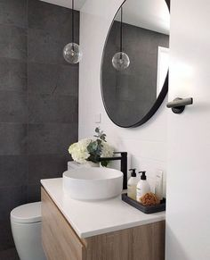 Powder room- like that the toilet is tucked away when you walk through the door - Interior - Bathroom Decor Bathroom Layout, Bathroom Interior, Modern Bathroom, Small Bathroom, Small Bathtub, Interior Doors, Bathroom Ideas, Dark Floor Bathroom, Paint Bathroom