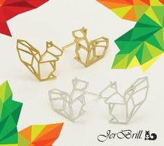 geometric minimal origami squirrel stud earrings from jerbrill by jerbrill on etsy