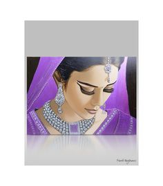 Moderne Schilderijen - Modern portrait painting Jewel Of India Beautiful Pencil Sketches, Indian Art Gallery, Indian Artwork, Beautiful Indian Brides, India Painting, Family Painting, Large Painting, Online Galerie, Modern Portraits
