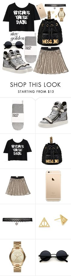 """""""Stay Gold"""" by zalvaalf ❤ liked on Polyvore featuring Giuseppe Zanotti, Disney, Moschino, Abercrombie & Fitch, Betsey Johnson, Alex and Ani, Michael Kors, contest, gold and black"""