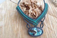 handmade macrame necklace with azurite cabochon by ARTEAMANOetsy