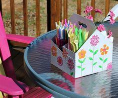 Organize a picnic caddy using a cardboard drink holder :: OrganizingMadeFun.com