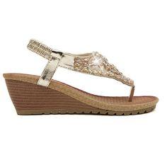 Sale 29% (18.35$) - Bohemian Wedge Heel Beaded Rhinestone Flip-flop Sandals