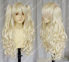 LMRA020  beautiful Long curly blonde lady's hair Wig wigs for women+2ponytails #Unbranded
