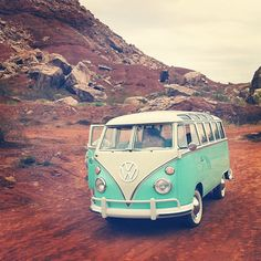 VW Bus and red rocks. Sneak peek of OliveUs.TV Season 2.