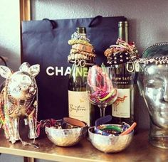 Wine bottles as jewelry stands
