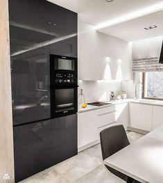 Projekt mieszkania W Warszawie 80 m2 - Średnia otwarta kuchnia w kształcie litery l w aneksie z oknem, styl nowoczesny - zdjęcie od BIBI
