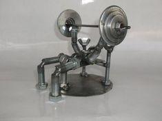 On Sale Weight Lifter, Bench Press Metal Bolt Figurine Welding Art Projects, Metal Art Projects, Welding Ideas, Metal Crafts, Working Out Area, Bench Press Weights, Pressed Metal, Metal Welding, Scrap Metal Art