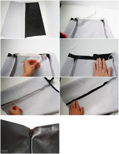 Leather skirt- how to leather a line skirt, faux leather skirt, leather ski Diy Clothes Jackets, Diy Clothes Jeans, Diy Clothes Hangers, Diy Clothes Storage, Diy Clothes Refashion, Diy Clothes Videos, Diy Clothing, Leather A Line Skirt, Faux Leather Skirt