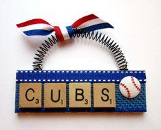 Cubs Baseball Scrabble Tile Ornament | Etsy Scrabble Letter Crafts, Scrabble Tiles, Cubs Baseball, Lettering, Ornaments, Unique, Fun, Gifts, Vintage