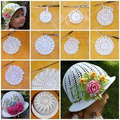 diy crochet pretty panama hat for girls F3 Crochet Panama Hat for Girls [Free Pattern and Video Tutorial]
