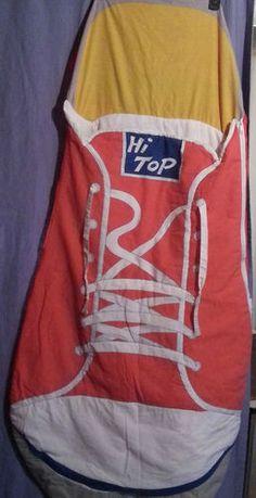 Vintage Sneaker Hi Top Sleeping Bag Shoe Shaped Unique 48x30 Child | LIKE US ON FACEBOOK (facebook.com/funkienotjunkie)